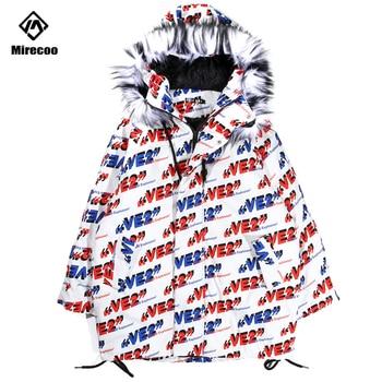 Мужская длинная куртка Mirecoo, зимняя уличная куртка в стиле хип хоп с капюшоном и принтом букв, с меховым воротником, 2019