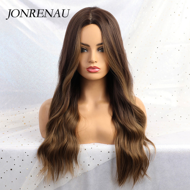 JONRENAU 24 Inches  Long Synthetic Natural Wave Brown Ombre Hair Wigs Heat Resistant Hair Wigs for Black Women 4