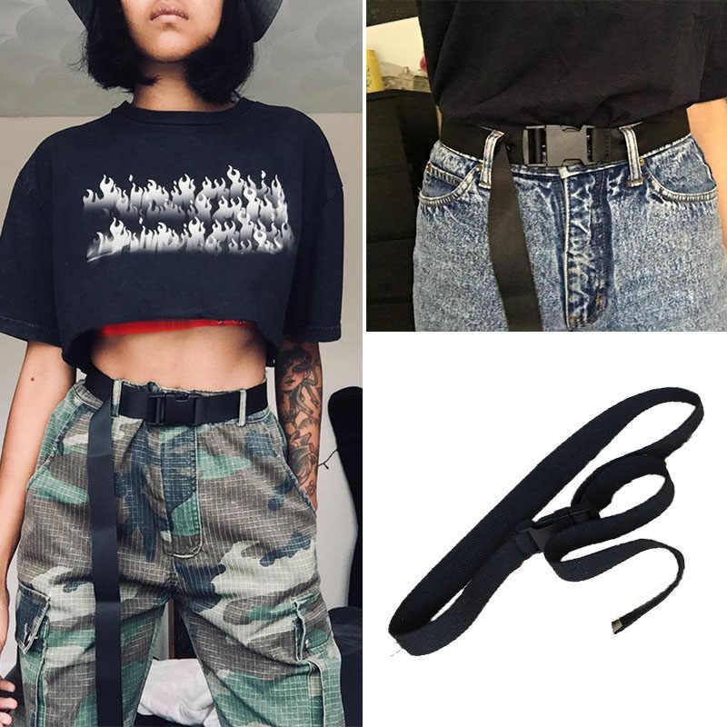 ファッション黒のキャンバスベルト女性のためのカジュアルな女性のウエストベルトとプラスチックバックル原宿無地ロング ceinture ファム