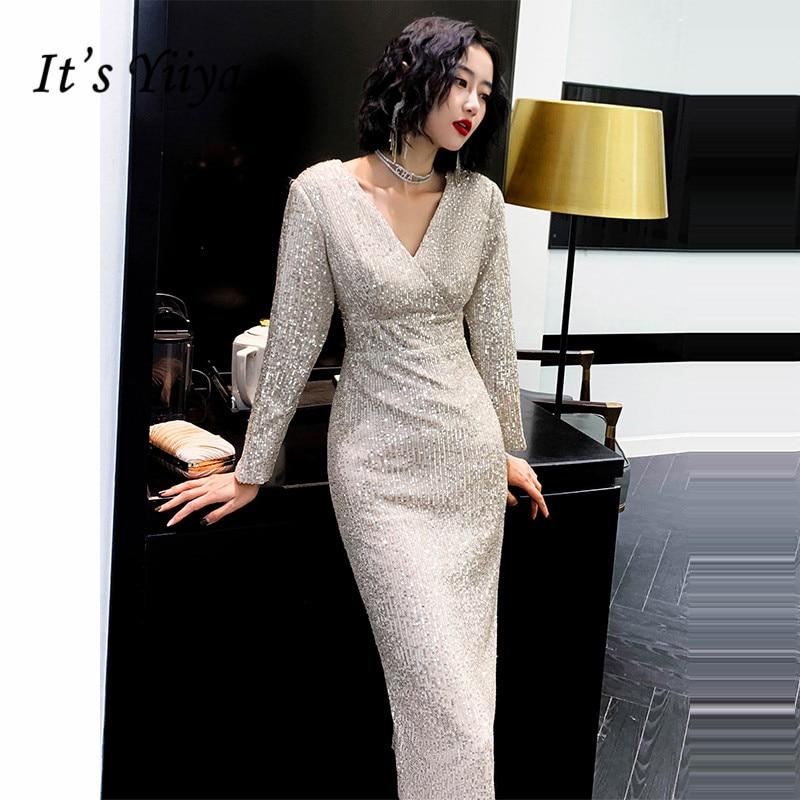 It's Yiiya Evening Dresses Gold V Neck Shining Sequined Evening Gowns Full Sleeve Tea-Length Split Formal Dress For Women K074