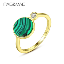 Malachite-Stone-Ring Fine-Jewelry MAG 925-Sterling-Silver PAG Charm for Wome Female Joyas-De-Plata