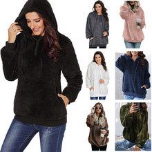 Fashion style woman warm furry pullover sweatshirts Hoodie polar fleece tops for female autumn spring size s-xxl