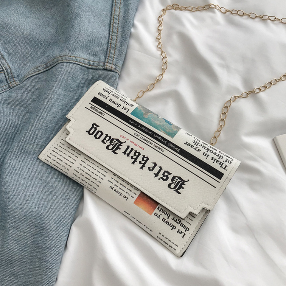 Oswego Envelope Bag Women 2019 New Personality Inkjet Newspaper Clutch Bags Joker Shoulder Messenger Bag Chain Evening Bags (white Envelope Bag)
