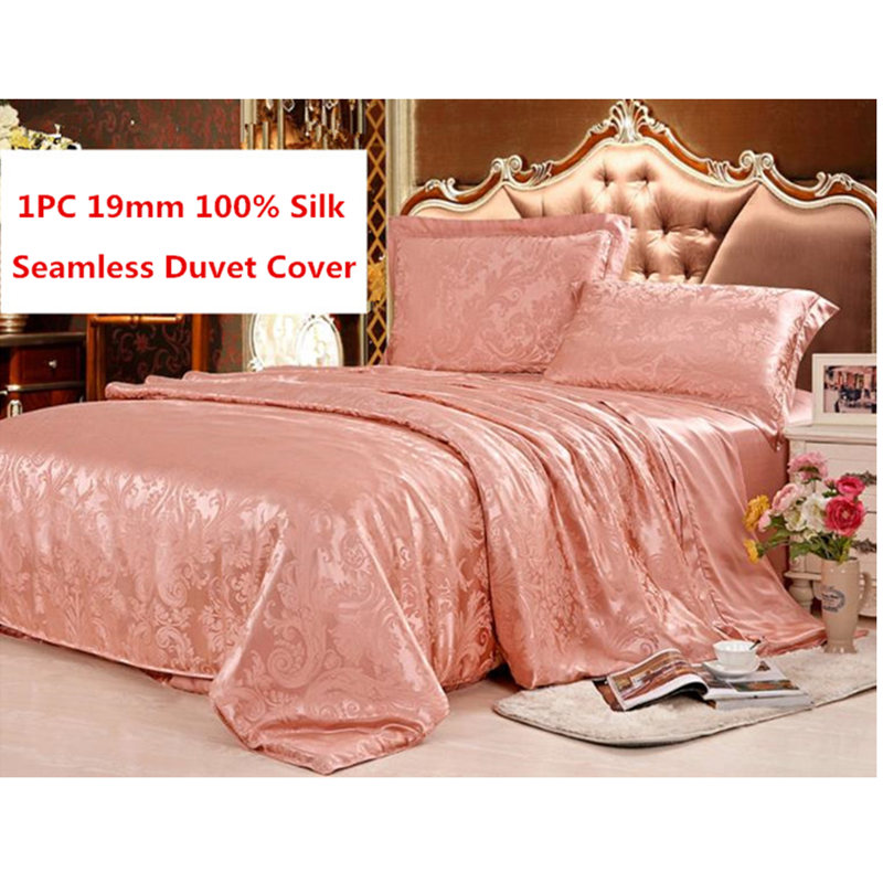 1PC 19MM Silk Duvet Cover Seamless Jacquard Weave Print 100% Mulberry Silk Cover Bedding Many Size Customize Size