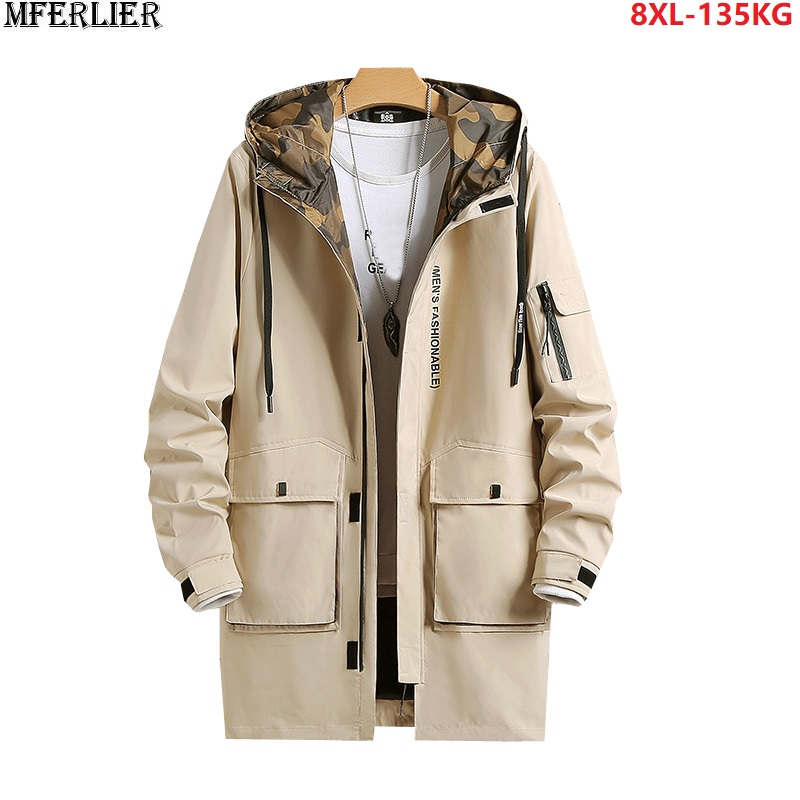men fashion cargo   trench   hooded letter high streetwear jackets pockets plus size 6XL 7XL 8XL outwear khaki zipper   trench   130KG