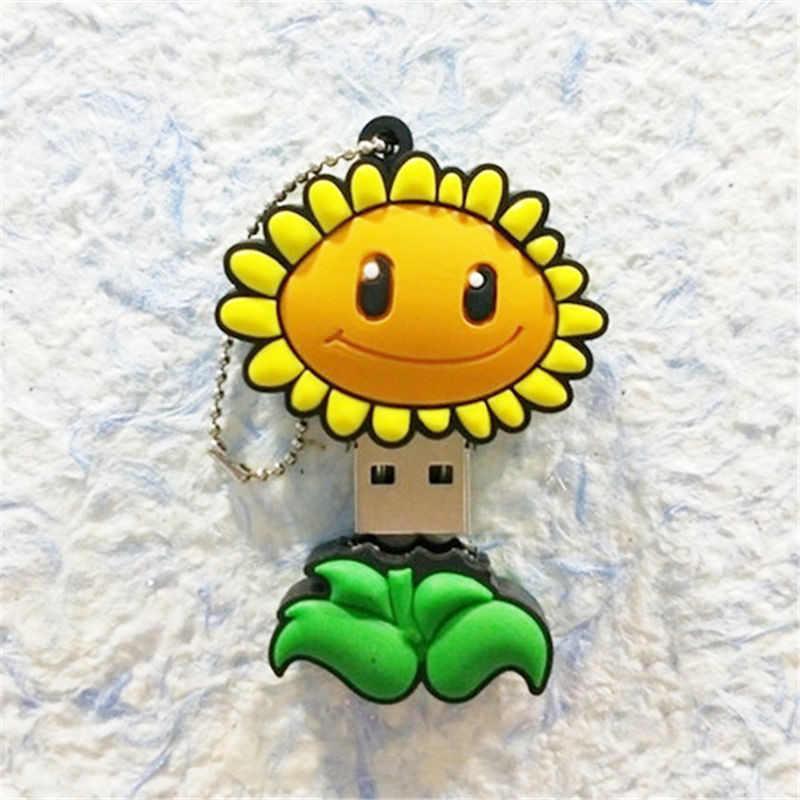 Флеш-накопитель с изображением цветов из мультфильма, 4 ГБ, 8 ГБ, 16 ГБ, 32 ГБ, 64 ГБ, карта памяти с изображением подсолнуха, флеш-диск USB 2,0, милые подарки для детей