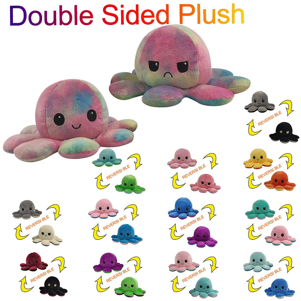 Christmas Plush Toy Octopus Doll Kids Soft Pillow Stress Reliever Children Accessories Kawaii Toys Reversible Colors Adults