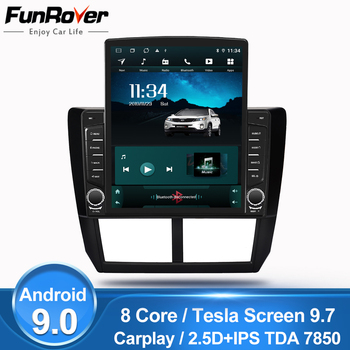 """Funrover 9"""" Tesla screen 8core Android 9.0 car multimedia video Player radio gps navi For Subaru Forester 2008-2012 2 din no dvd"""