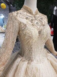 Image 5 - Bgw HT5613 ゴールデンイスラム教徒のウェディングドレスハイネック長袖ビーズ光沢のあるブライダルドレスのウェディング 2020 新ファッション