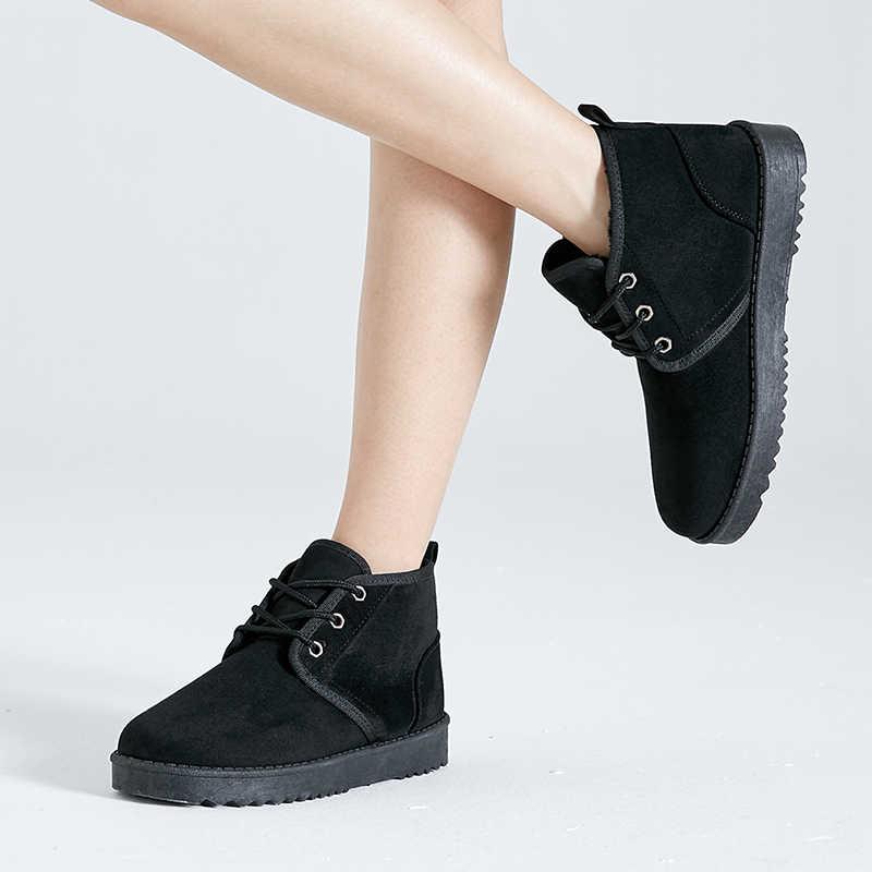 2018 kış kadın ayakkabısı kar botları pamuk Anti patinaj alt tutmak kayışı Lace Up sıcak su geçirmez kadın siyah çizmeler