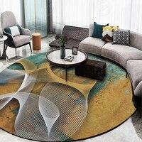 Abstract Art Modern Printed Bedroom Carpets Floor Mats New Design Geometric Round Carpet Rugs Anti Slip Rugs Home Decoration