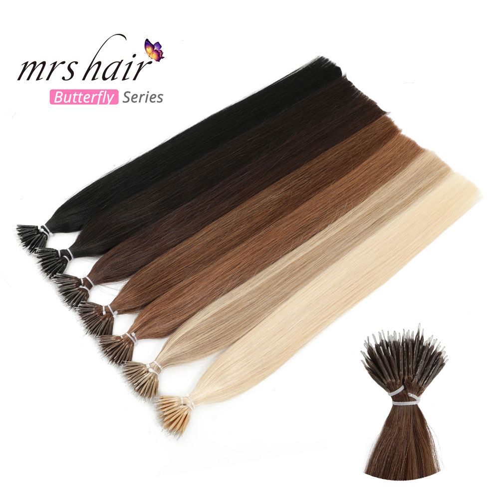 MRSHAIR Nano Hair Extensions Machine Remy Micro Ring Nano Bead Hair Pre Bonded Micro Link Hair 50pc 100pc 12