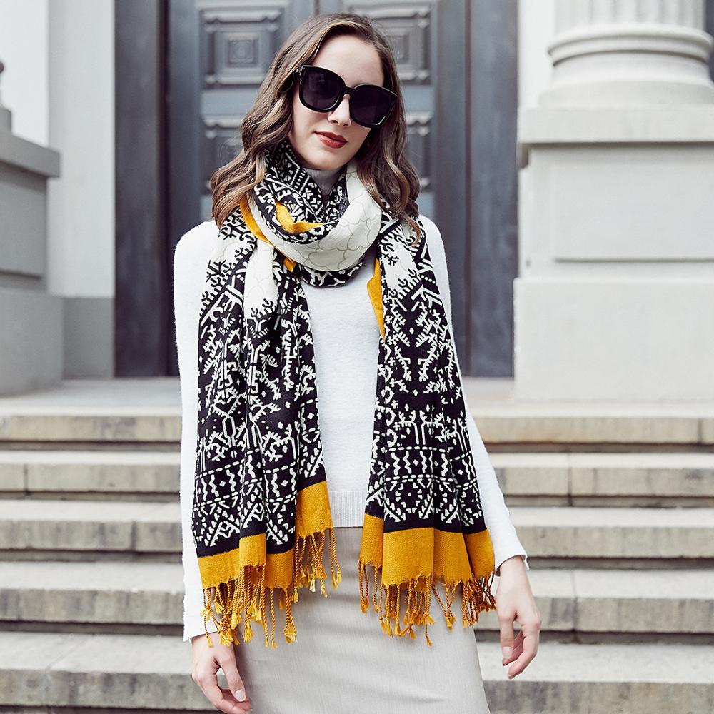 Image 5 - ウール女性スカーフストールエレガントな Carf  暖かいショールバンダナスカーフ高級ブランドイスラム教徒ヒジャーブビーチブランケットフェイスシールドスカーフ     グループ上の アパレル アクセサリー からの レディース スカーフ の中