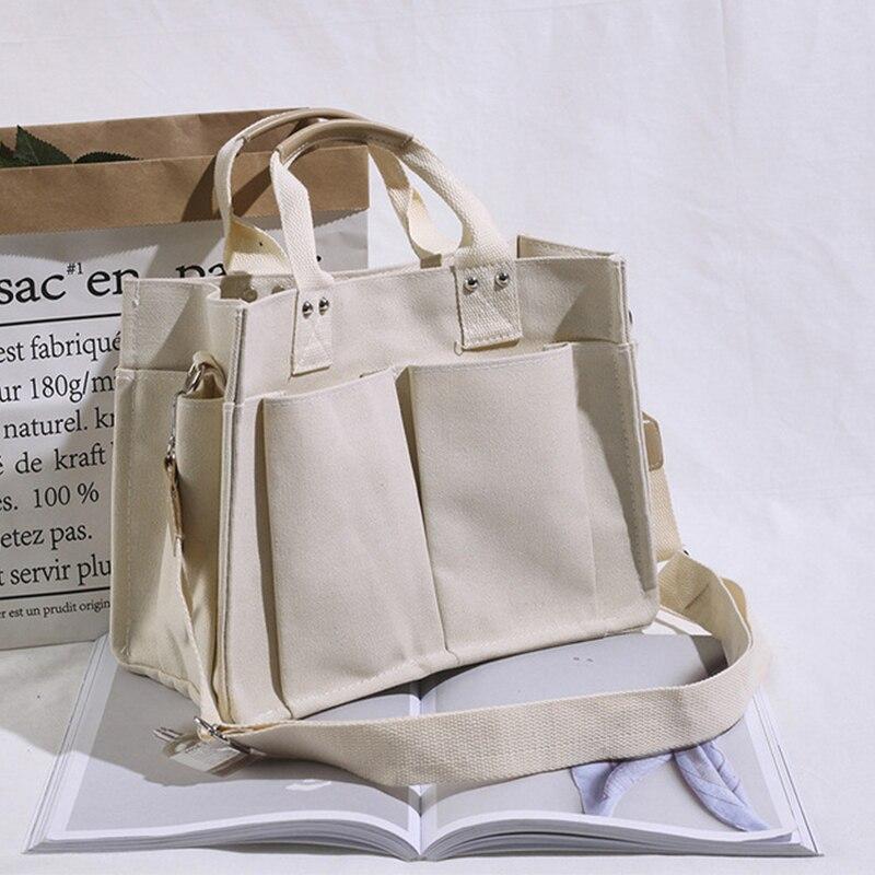 Women Handbag Korean School Simple Solid Color Casual Canvas Messenger Shoulder Bag Hot Sale Student Large Capacity Pocket Bags