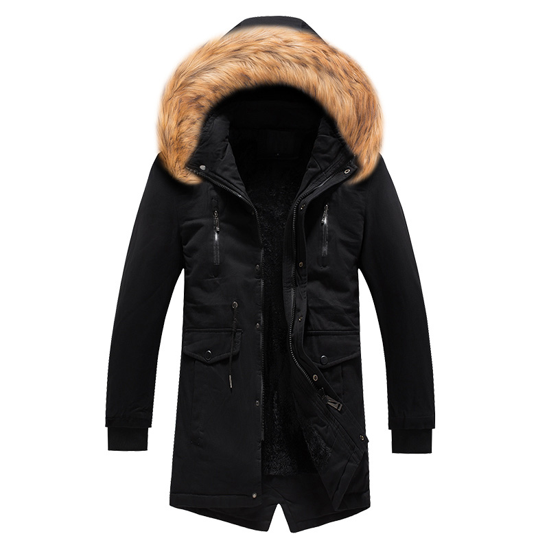 2019 Fashion Winter Jacket Men High Quality Fur Collar Thick Warm Parka Men Long Coat Windproof Trench Velvet Casual Outwear Top