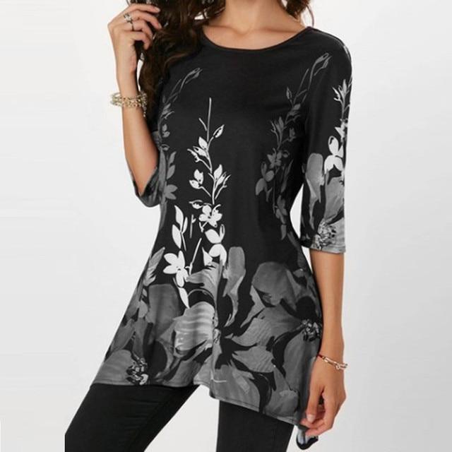 4XL Casual Summer Shirts Women 2019 Boho Floral Print Stretch Beach Shirt Tunic Loose Long Party Blouses Blue Plus Size Tops 5XL 2