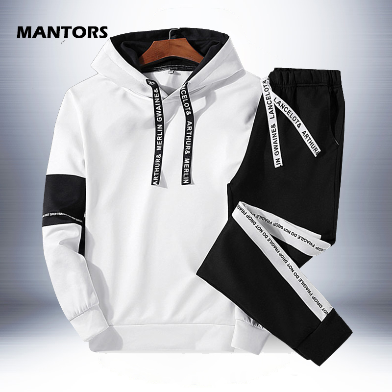 2019 Tracksuit Hoodies Men Set Fleece Sportswear Spring Autumn Hooded Sweatshirts+Pants Mens Clothes Casual Sports Suit Outfits