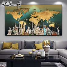 FULLCANG Abstract world map of europe buildings large diamond painting 5d diy full square round mosaic embroidery kits FC3566