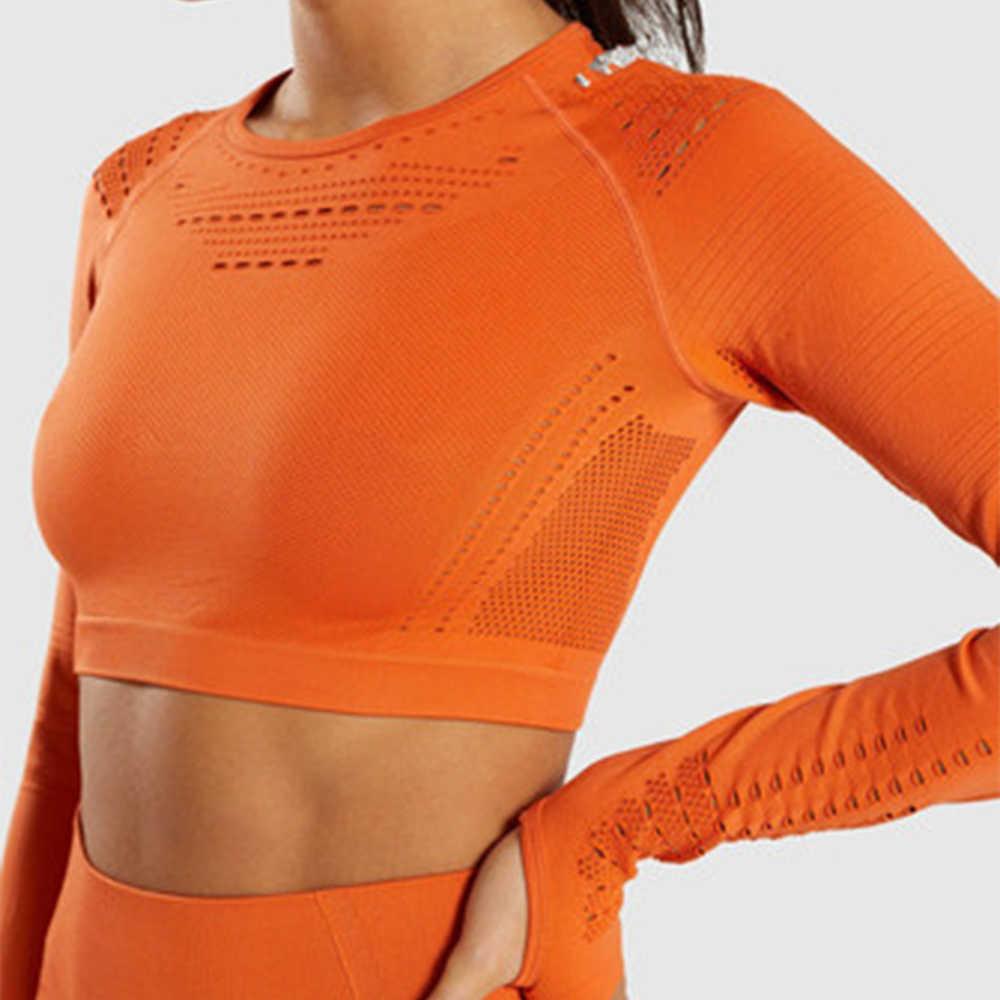 Zhangyunuo bez szwu upraw z długim rękawem siłownia Running Fitness top do jogi kompresji treningu koszula sportowa dla kobiet siłownia