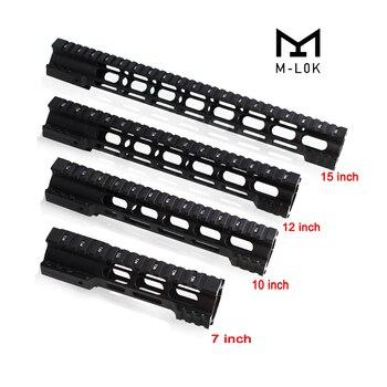 цена на 7 10 12 15 Inch M4 M16 AR15 Free Float M-Lok Quad Rail Handguard Picatinny Rail with Steel Barrel Nut