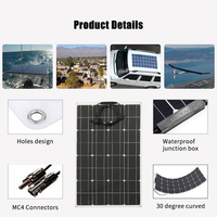 Solar Panel High Efficiency Monocrystalline Silicon Solar Cell Waterproof Solar Charger for Battery Charging Camping Car Boat