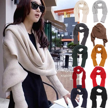 Meihuida 240 x 50cm Winter Women Soft  Warm Knitted Solid Sweater Scarf With Sleeve Wrap Shawl Scarves