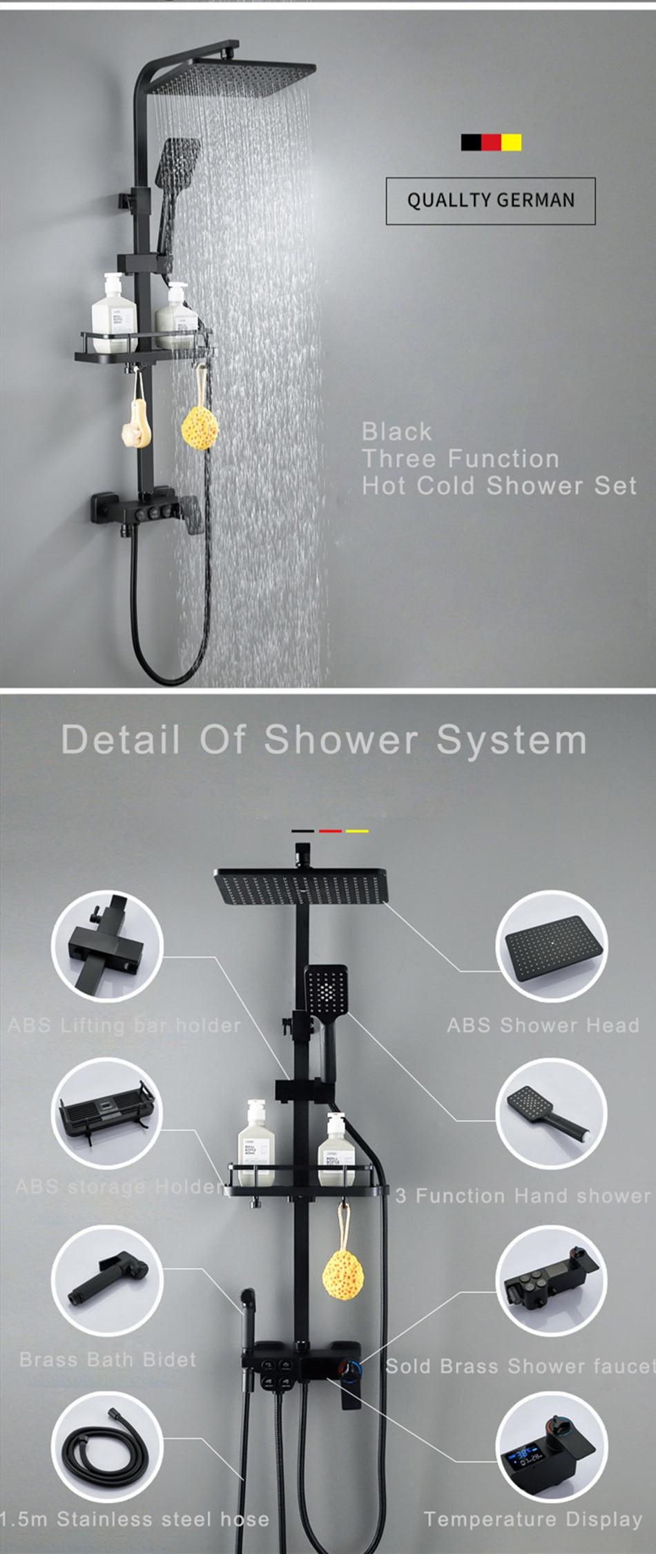 H21f50a30b6f74d1e80870fa896b043c6m Hot and Cold Digital Shower Set Faucet Bathroom Shower System Black Gold Shower Faucet Square Shower Head Bath Shower System