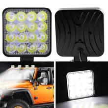 Venda 2 pçs 48w quadrado brilhante led spotlight luz de trabalho carro suv caminhão condução nevoeiro lâmpada para reparação do carro acampamento caminhadas pesca csv