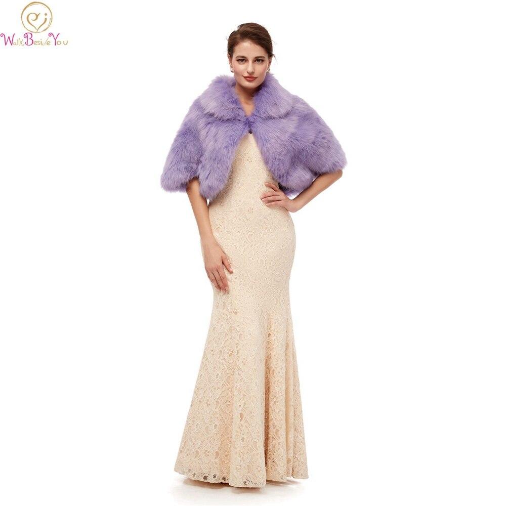 Special Purple Evening Party  Jackets Wraps 2019 Faux Fur Cloaks Wedding Capes Winter Women Bolero Wraps Shawls In Stock Shrug