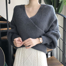 2020 women autumn sexy knitted sweater vintage cross pullovers