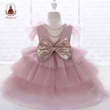 Yoliyolei Tiered Layers Tulle Dress Girl Gown Pearls Necklace V Back Design Holidays Wedding Clothes for Children Casual