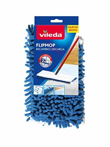 Vileda Ersatz-Flip-Mop-Politur Für Alle Arten Von Böden, Polyester, Weiß Und Blau