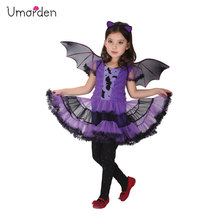 Halloween Costume for Kids Children Black Purple Bat Girl Costumes Dress Cape Cloak Fantasia Infantil Cosplay Clothing