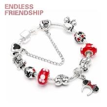 18style Mickey Minnie Mouse Charm Bracelets Fashion European Fits Brand & Bangles DIY Women Kid Jewelry Gifts