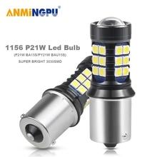 ANMINGPU 2PCS Signal Lamp P21W 1156 BA15S BAY15D Led P21/5W 2835SMD BAU15S PY21W Reversing lights Backup Light Bulbs 6000K White