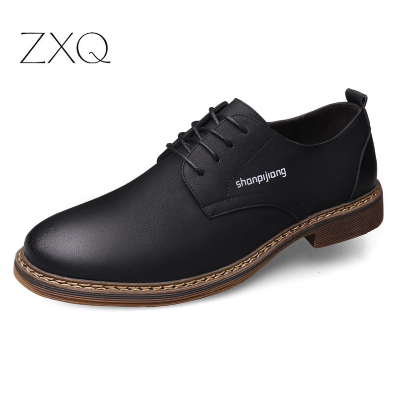Brand Quality Genuine Leather Casual Men Oxford Shoes Classic Retro Cowhide For