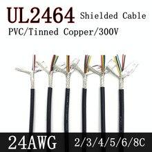 1 metr 24AWG UL2464 ekranowany kabel sygnałowy 2 4 6 8 rdzeń PVC izolowany kanał słuchawki Audio sterowanie miedzią przewód osłonowy