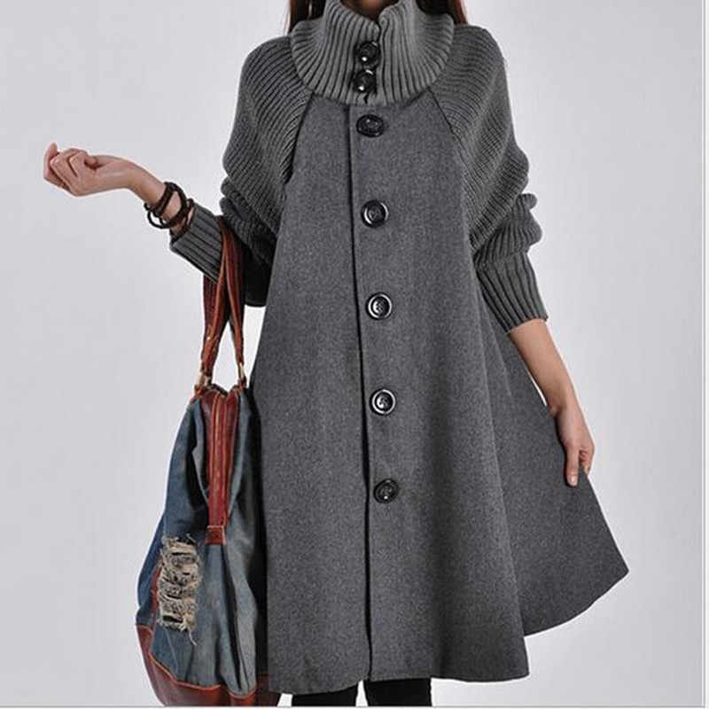 冬のコートの女性赤黒秋のロングコート女性ルースニット服ボタン casaco feminino abrigos の mujer invierno 2019