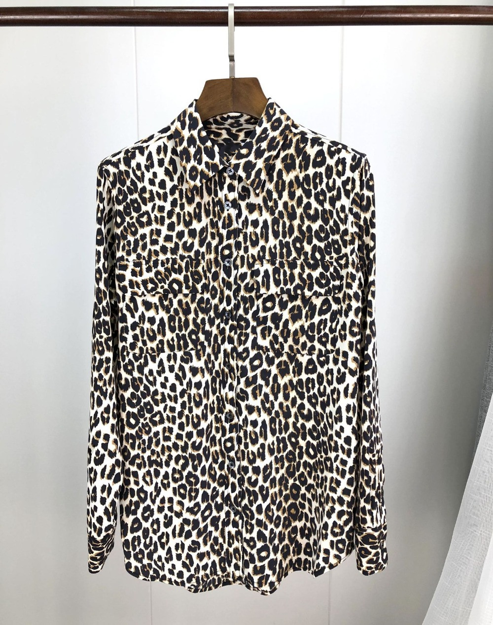 Spring Women Silk Shirt Leopard Print Long Sleeve with Pocket Blouse Top 2019 New