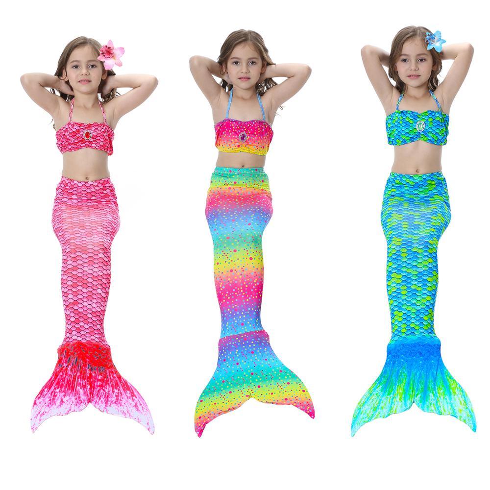 Conjunto de 3 unidades de Bikini de sirena para niña, traje de baño de sirena para playa, conjunto de Bikini sin Monofin