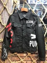 אירופאי סגנון מפורסם מותג dsq mens תג ג ינס מעיל מותג יוקרה גברים הלבשה עליונה ומעייל שחור ג ינס הדק גברים