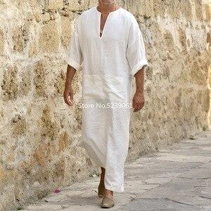 Image 2 - אסלאמי מסורתי Jubba Thobe גברים העבאיה פשתן מוסלמי גלימות דובאי ערבית קפטן בגדים Qamis Homme ערבי תורכי שמלת שמלת חיג אב