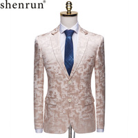 Shenrun Men Blazer Fashion Light Brown Yellow High Quality Casual Floral Pattern Slim Suit Jacket Groom Singers Stage Costumes