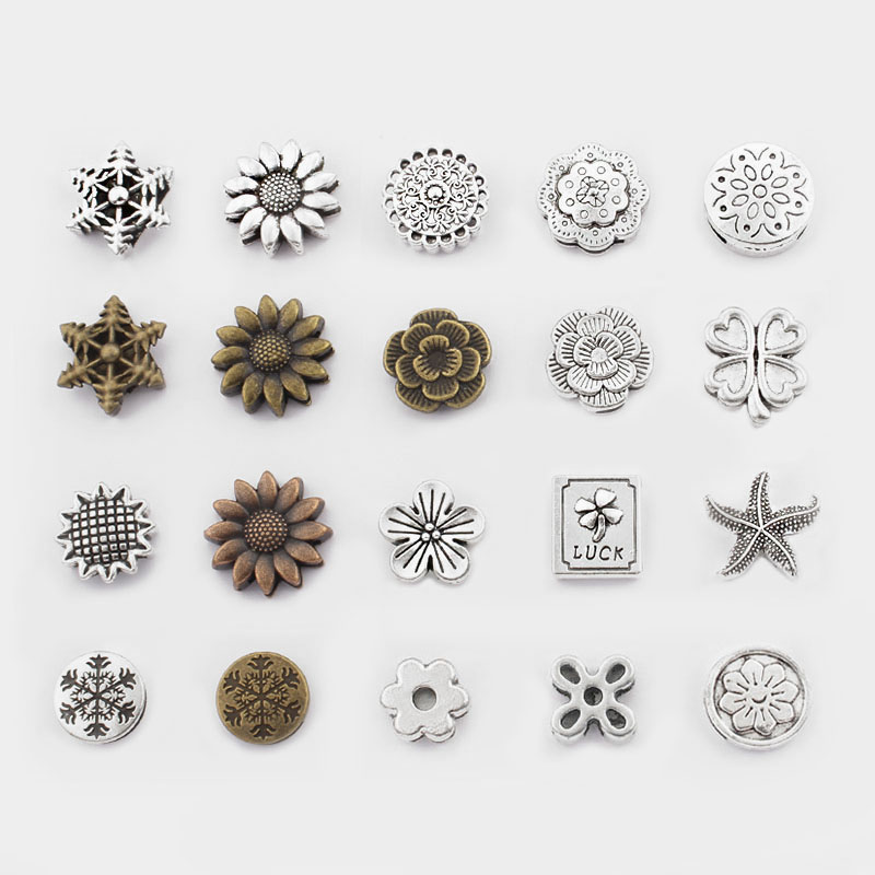 10Pcs Antique Silver/Bronze SunFlower Snowflake Slider Spacers Beads For 10*2mm Flat Leather Cord Bracelet Jewelry Accessories