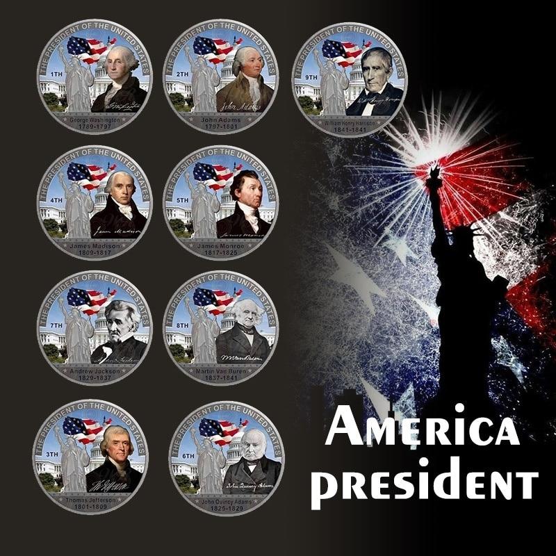 Новый праздничный подарок, окрашенный George H. W. Чехол с посеребренными монетами, 41 американский президент искусства/с бесплатным покрытием ...