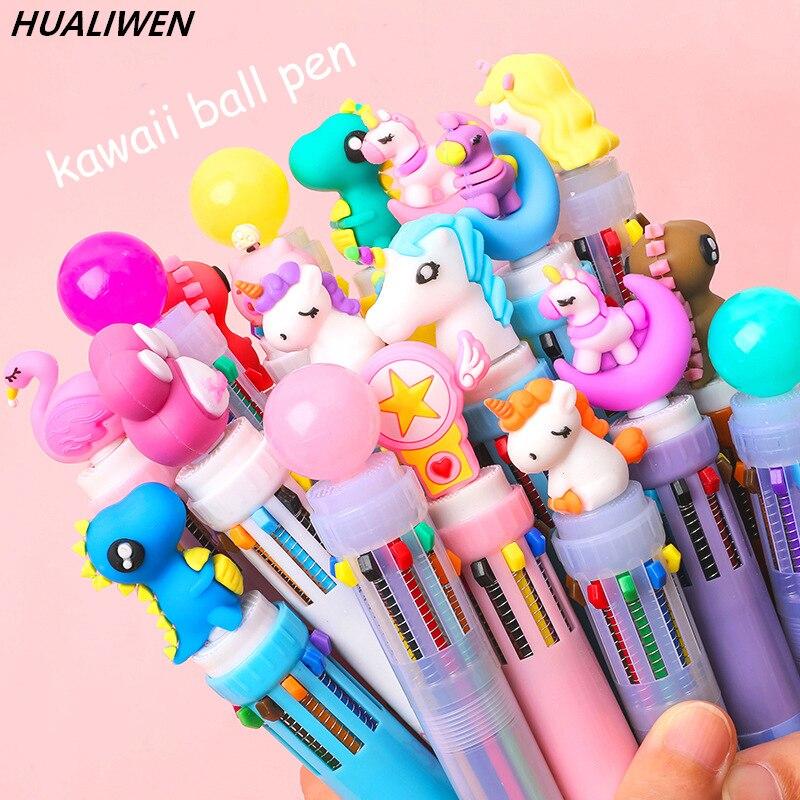 5Pcs Ten-Color Ballpoint Pen Kawaii Stationery Novelty Cute Pen Student Writing Gel Pen Learning Office Supplies
