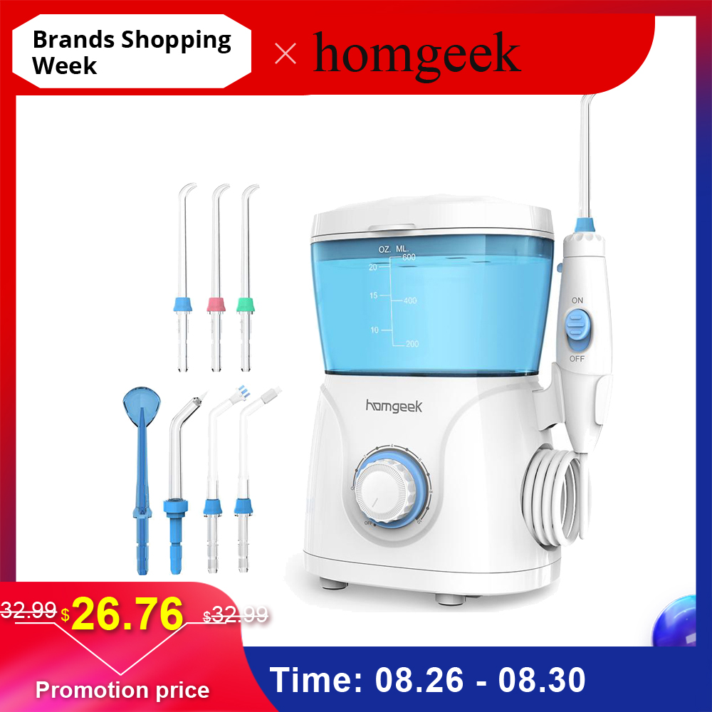 Water-Flosser Pick Teeth-Cleaner Oral-Irrigator Homgeek Spa with 7-Tips for Family