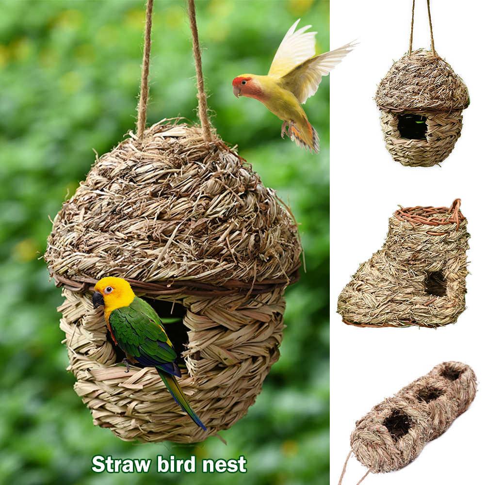 Dozzlor ręcznie tkane ptasie gniazdo naturalne przyjazne dla środowiska klatki słomy roofing małe zwierzęta Hut wiszące wystrój domu