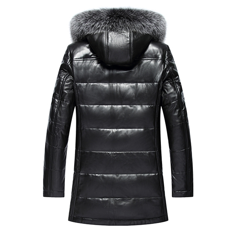 Leather Jacket Men Sheepskin Coat Genuine Leather Coat Man Winter Warm Down Jackets Male Fox Fur Outwear 818 LWL1087