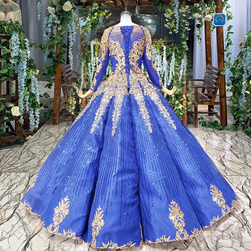 BGW חדש רויאל בלו שמלת ערב ארוך O-צוואר ארוך שרוול תחרה עד בחזרה באורך רצפת ערב שמלות נפוחות Vestidos דה Novia 2020
